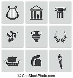 вектор, греция, задавать, черный, icons