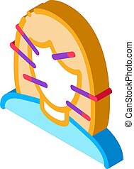 вектор, женский пол, лицо, изометрический, иллюстрация, иглоукалывание, значок