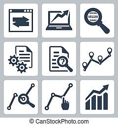 вектор, задавать, данные, анализ, icons