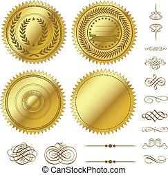 вектор, задавать, золото, seals