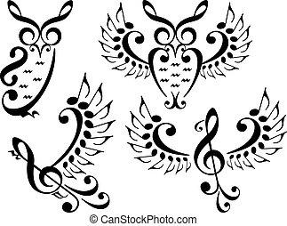 вектор, задавать, музыка, птица, сова