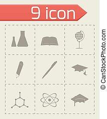 вектор, задавать, черный, образование, icons