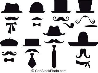 вектор, задавать, hats, усы