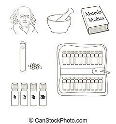 вектор, задавать, icons., homeopathy.