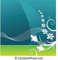 вектор, задний план, гранж, цветочный