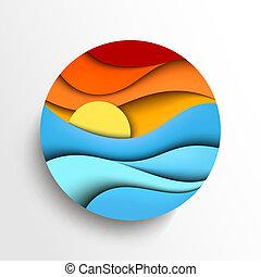 вектор, закат солнца, sea., иллюстрация, значок