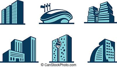 вектор, здание, 3d, задавать, icons