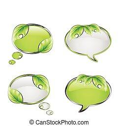 вектор, зеленый, задавать, баннер, leaf.