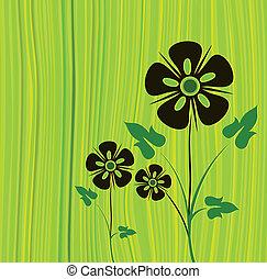 вектор, зеленый, цветок, задний план
