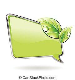 вектор, зеленый, leaf., баннер