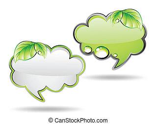 вектор, зеленый, leaf., баннер, облако