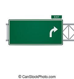 вектор, знак, 3d, шоссе, пустой