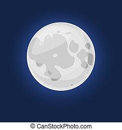 вектор, иллюстрация, луна