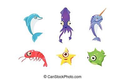 вектор, квартира, задавать, большой, children, animals., игра, книга, море, eyes., морской, или, elements, creatures