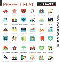 вектор, квартира, задавать, страхование, icons
