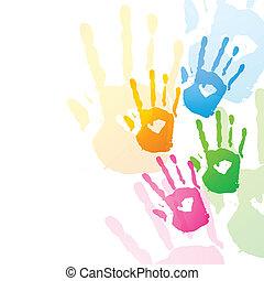 вектор, красочный, руки