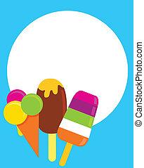 вектор, красочный, ice-creams, иллюстрация
