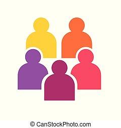 вектор, красочный, icons-, иллюстрация, люди