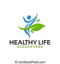вектор, логотип, жизнь, здоровый