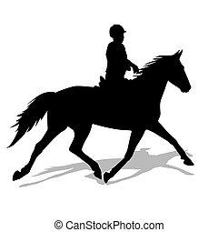 вектор, лошадь, жокей, силуэт