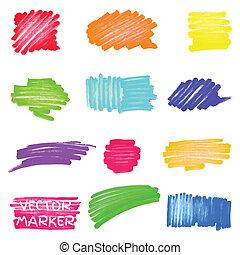 вектор, маркер, задавать, цветной, spots