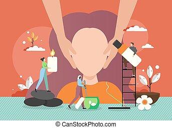 вектор, массаж, лицо, женщина, иллюстрация, квартира, молодой, спа, получение, salon.