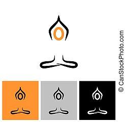 вектор, медитация, логотип, йога, значок, человек