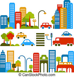 вектор, милый, улица, иллюстрация, город