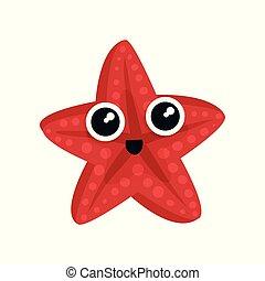 вектор, милый, creature., водный, звезда, блестящий, квартира, adorable, наклейка, eyes., t-shirt, маленький, kids, море, большой, распечатать, animal., морской, или, красный