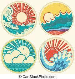 вектор, море, солнце, waves., морской пейзаж, icons, марочный, иллюстрация