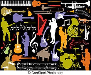вектор, музыка, elements.