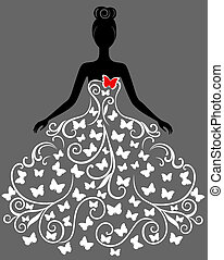 вектор, платье, женщина, силуэт, молодой