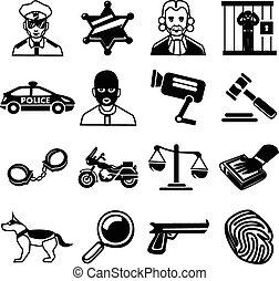 вектор, полиция, задавать, черный, icons
