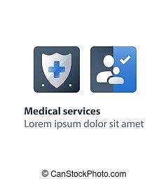 вектор, семья, концепция, медицинская, программа, здоровье, services, забота, страхование, значок
