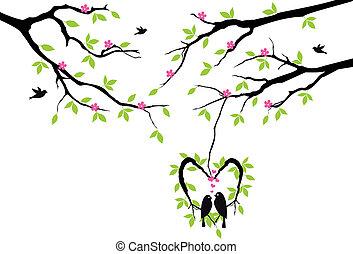 вектор, сердце, гнездо, дерево, birds