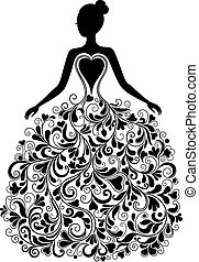 вектор, силуэт, платье, красивая