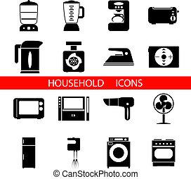 вектор, силуэт, symbols, isolated, задавать, домашнее хозяйство, icons, иллюстрация