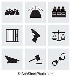 вектор, справедливость, черный, задавать, icons