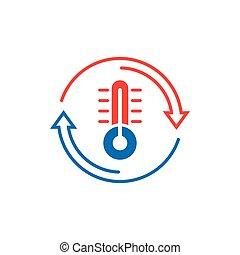 вектор, холодно, background., isolated, бизнес, горячий, иллюстрация, климат, белый, concept., style., термометр, значок, баланс, метеорология, контроль, квартира, температура