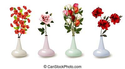 вектор, цветы, весна, лето, красочный, vases., коллекция