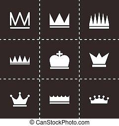 вектор, черный, задавать, корона, icons
