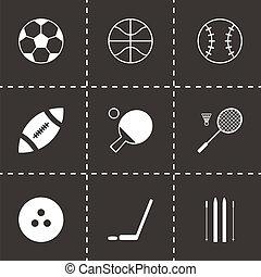 вектор, черный, спорт, задавать, icons