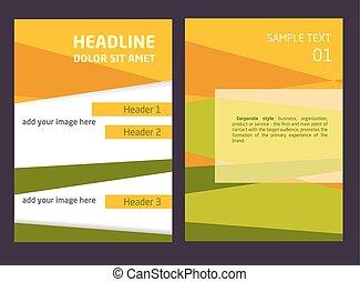 вектор, шаблон, абстрактные, брошюра, листовка, дизайн, a4, задний план, оранжевый, зеленый, size.