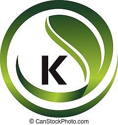 вектор, шаблон, логотип, дизайн, начальная, к, лист