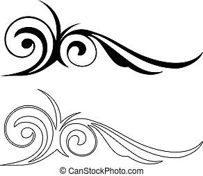вектор, элегантность, elements., иллюстрация, два