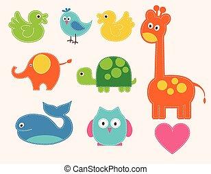 вектор, animals, задавать, красочный, kids
