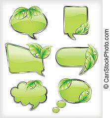 вектор, banners, leaf., зеленый, иллюстрация