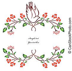 вектор, branch., цветок, птица, сидящий