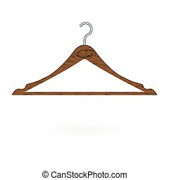 вектор, isolated, иллюстрация, background., дерево, вешалка, белый, одежда