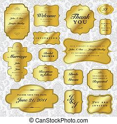 вектор, labels, задавать, золото